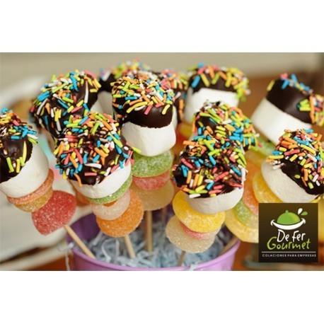 Brochetas de Marshmallow con chocolate y gomitas x20